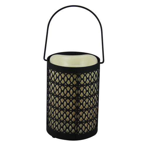 """12"""" Black Opulent Battery Operated Indoor LED Candle Lantern with Timer - IMAGE 1"""