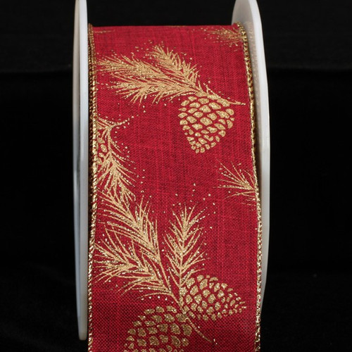 """Red and Gold Burlap Pine Cones Wired Christmas Craft Ribbon 2.5"""" x 40 Yards - IMAGE 1"""
