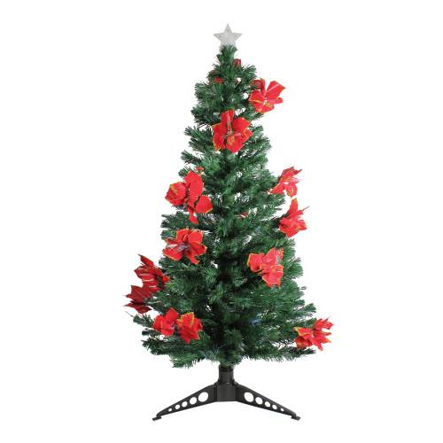 5' Pre-Lit Medium Fiber Optic Artificial Christmas Tree with Red Poinsettias - Multicolor Lights - IMAGE 1