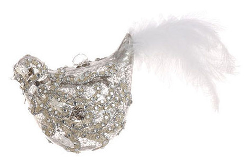 """7.5"""" Shiny Silver Jeweled Glass Bird with Faux Feather Tail Christmas Ornament - IMAGE 1"""