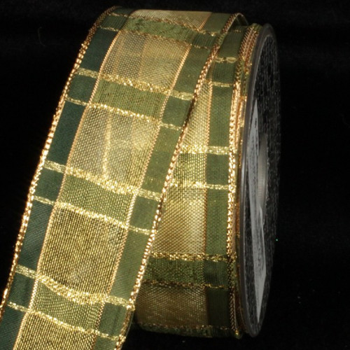 """Hunter Green and Gold Squares Woven Wired Craft Ribbon 1.5"""" x 27 Yards - IMAGE 1"""