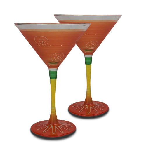 Set of 2 Orange and Yellow Contemporary Hand Painted Wine Glasses 7.5 oz. - IMAGE 1