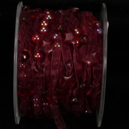 """Burgundy Narrow Organdy with Stars Tulle Craft Ribbon 0.25"""" x 27 Yards - IMAGE 1"""