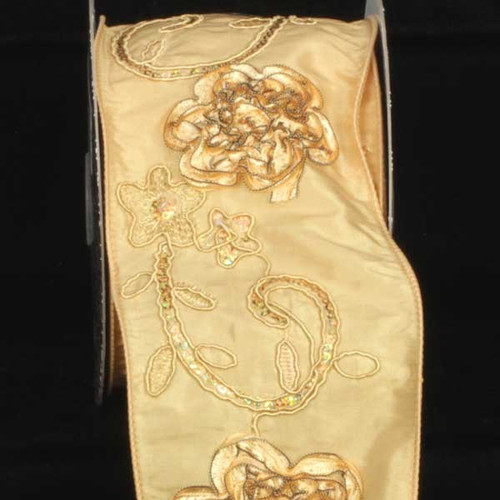"""Gold Embroidered Floral Wired Craft Ribbon 4"""" x 10 Yards - IMAGE 1"""