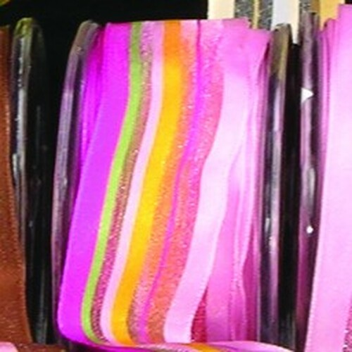 """Pink and Green Stripe Wired Craft Ribbon 1.5"""" x 54 Yards - IMAGE 1"""