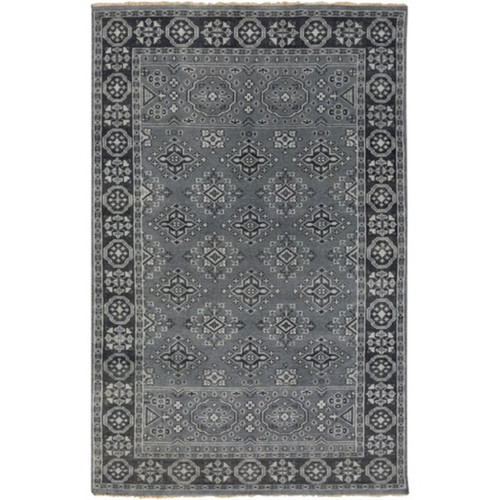 5.5' x 8.5' Blue and Cadet Gray Hand Knotted Rectangular Area Throw Rug - IMAGE 1