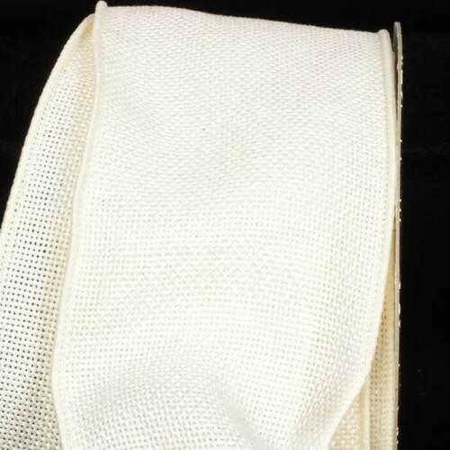 "Ivory Fine Burlap Wired Craft Ribbon 3"" x 40 Yards - IMAGE 1"