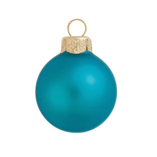 """6ct Matte Teal Green Glass Ball Christmas Ornaments 4"""" (100mm) - IMAGE 1"""