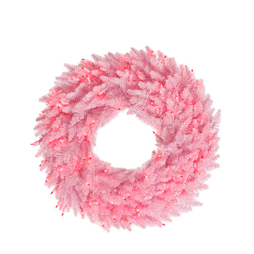 Pink Pre-Lit Ashley Spruce Christmas Wreath - 48-Inch, Clear and Pink Lights - IMAGE 1
