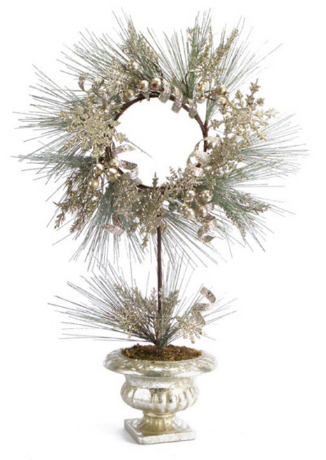 Green and Gold Champagne Potted Pine Artificial Christmas Wreath - 28-Inch, Unlit - IMAGE 1