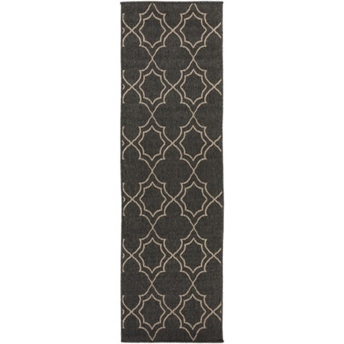 2.25' x 7.75' Vintage Harmony Black and Brown Taupe Shed-Free Area Throw Rug Runner - IMAGE 1