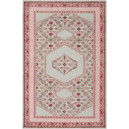 5.5' x 8.5' Cloud Gray and Strawberry Pink Hand Knotted Wool Rectangular Area Throw Rug - IMAGE 1