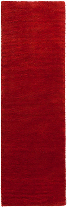 2.5' x 8' Solid Red Hand Woven Rectangular Area Throw Rug Runner - IMAGE 1