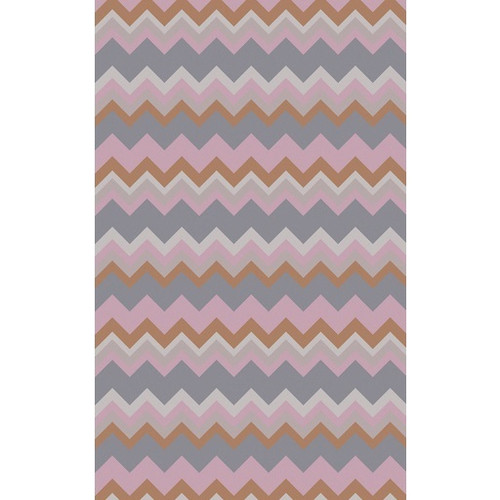 8' x 11' Wavy Rose Pink and Ivory Chevron Hand Woven Wool Area Throw Rug - IMAGE 1