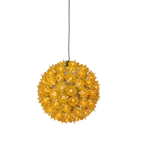 "7.5"" Yellow Lighted Hanging Starlight Sphere Ball Christmas Decor - IMAGE 1"