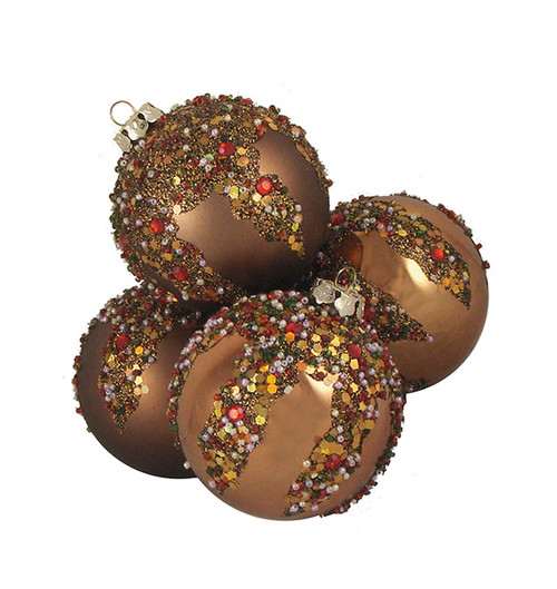 """4ct Brown Sequin Beaded Shatterproof 2-Finish Christmas Ball Ornaments 3.25"""" (80mm) - IMAGE 1"""
