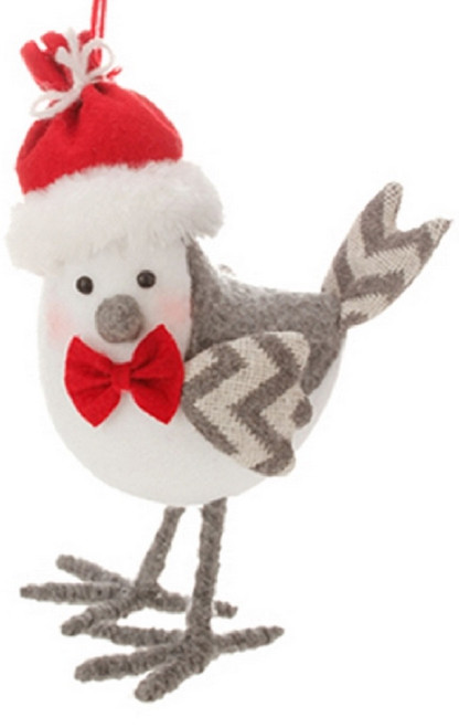 """8.75"""" Alpine Chic White and Gray Bird Wearing a Bow Tie Christmas Ornament - IMAGE 1"""