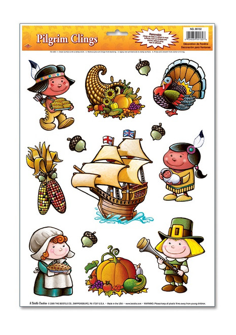 """Club Pack of 156 Pilgrim Fall Harvest Window Cling Decorations 17"""" - IMAGE 1"""