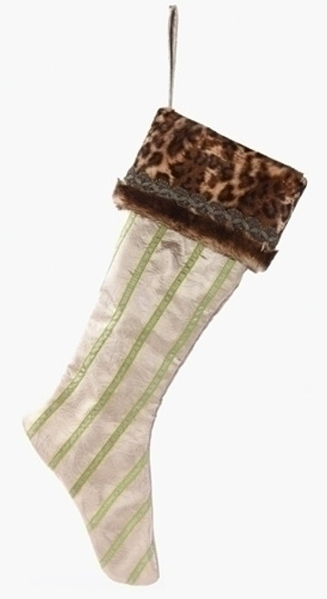 """26"""" Brown and Green Striped Leopard Print Christmas Stocking - IMAGE 1"""
