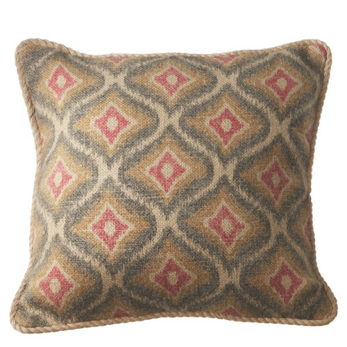 """18"""" Red and Yellow Geometric Square Throw Pillow with Twisted Trim - IMAGE 1"""
