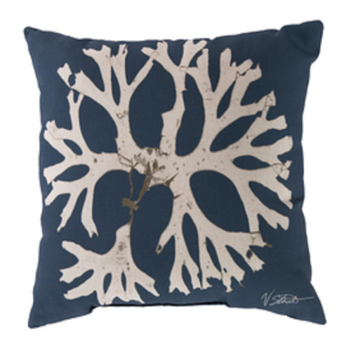 "20"" Navy Blue and Beige Contemporary Arbol Square Throw Pillow Cover - IMAGE 1"