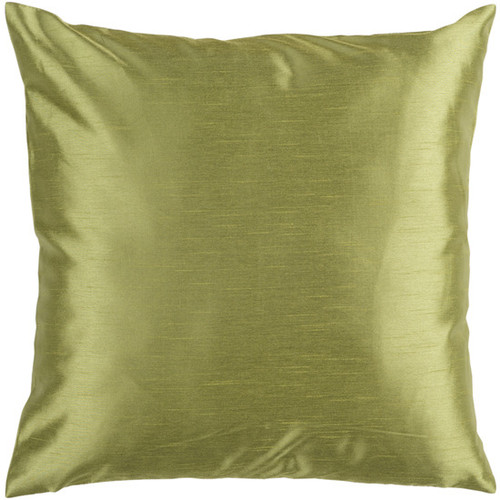 "22"" Green Solid Contemporary Square Throw Pillow - IMAGE 1"