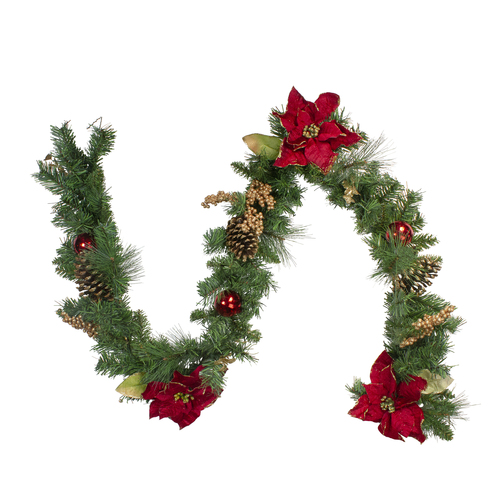 "6' x 10"" Pine and Poinsettias Artificial Christmas Garland - Unlit - IMAGE 1"