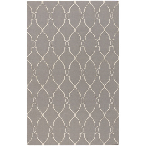 8' x 11' Forest Life Ivory and Gray Hand Woven Rectangular Wool Area Throw Rug - IMAGE 1