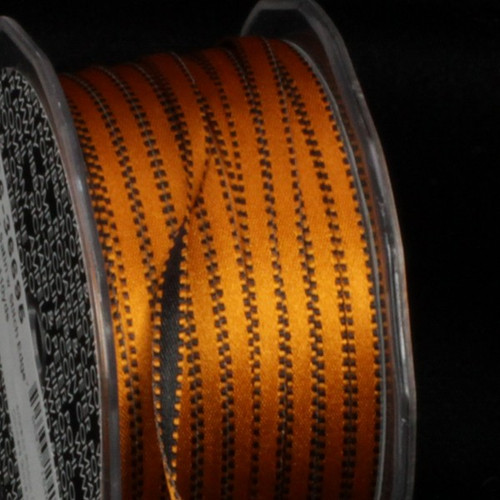 "Black and Gold Double Sided Craft Ribbon with Stitch Edge 0.25"" x 220 Yards - IMAGE 1"