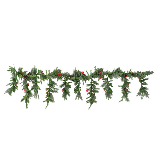 """6.5' x 30"""" Red Berry and Ball Ornament Mixed Pine Artificial Christmas Garland - Unlit - IMAGE 1"""