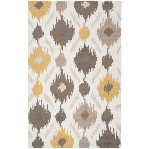 3.5' x 5.5' White and Gray Hand Hooked Rectangular Area Throw Rug - IMAGE 1