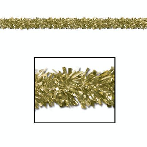 Set of 12 Festive Metallic Gold Foil Tinsel 6-Ply Christmas Garlands 15' - Unlit - IMAGE 1