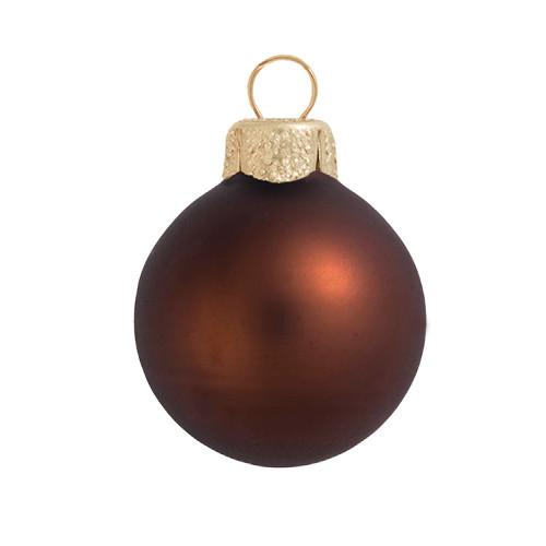 "Matte Cocoa Brown Glass Ball Christmas Ornament 7"" (180mm) - IMAGE 1"