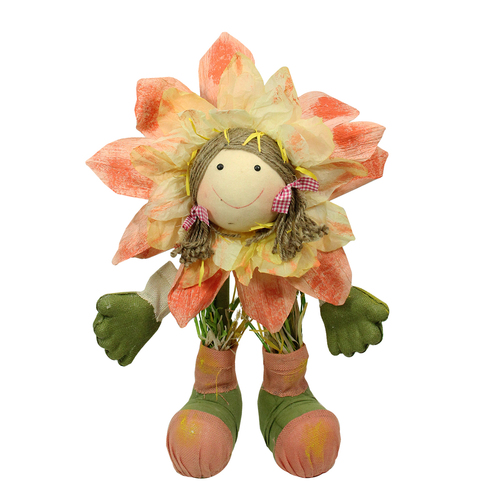 """29""""  Peach, Green and Yellow Spring Floral Standing Sunflower Girl Decorative Figure - IMAGE 1"""