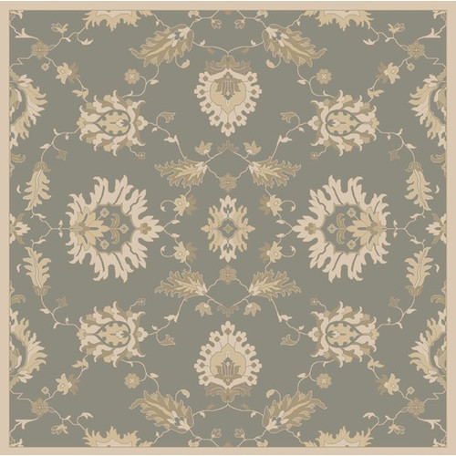 8' x 8' Blue and Brown Floral Motif Square Hand-Tufted Wool Area Throw Rug - IMAGE 1