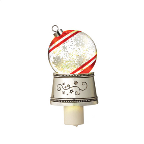"7"" White and Red Christmas Traditions Snowflake Ball Ornament Glittering Snow Dome Night Light - IMAGE 1"