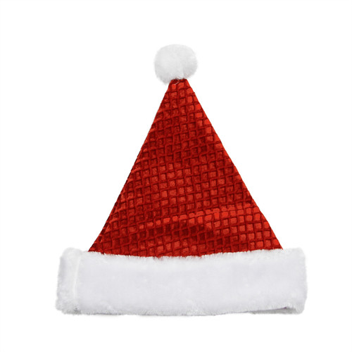 Red and White Waffle Weave Santa Claus Unisex Adult Christmas Hat Costume Accessory - One Size - IMAGE 1