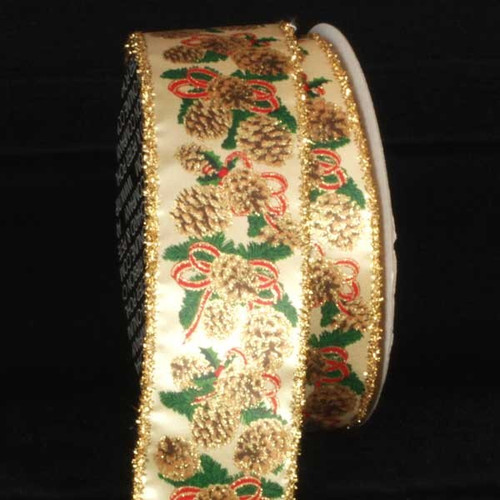 """Gold and Green Pinecones Wired Craft Ribbon 2.5"""" x 20 Yards - IMAGE 1"""