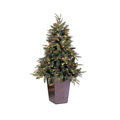 5' Pre-lit Medium Potted Green River Spruce Artificial Christmas Tree - Clear Lights - IMAGE 1