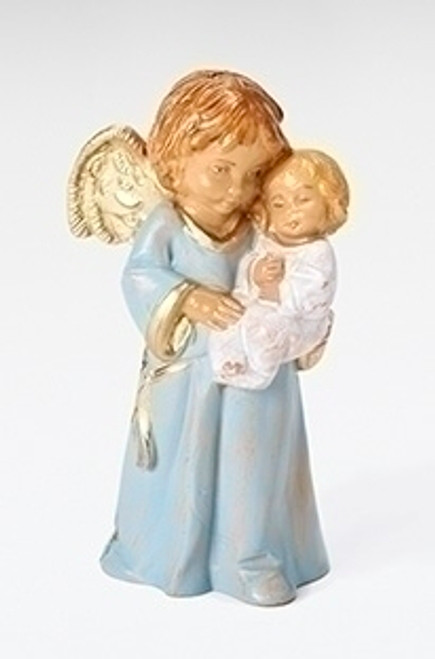 """3"""" Brown and Blue """"Bless this Child"""" Angel Boy's Christmas Figurine - IMAGE 1"""