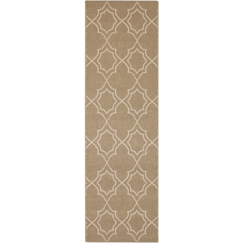 2.25' x 11.75' Brown and Beige Contemporary Machine Woven Outdoor Area Throw Rug Runner - IMAGE 1