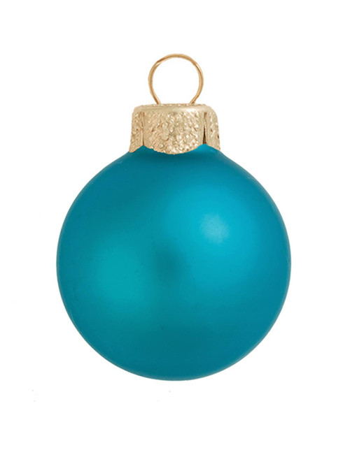 "40ct Turquoise Blue Matte Glass Christmas Ball Ornaments 1.25"" (30mm) - IMAGE 1"