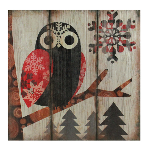 """13.75"""" Alpine Chic Wide - Eyed Owl in Woods with Snowflakes Wall Art Plaque - IMAGE 1"""