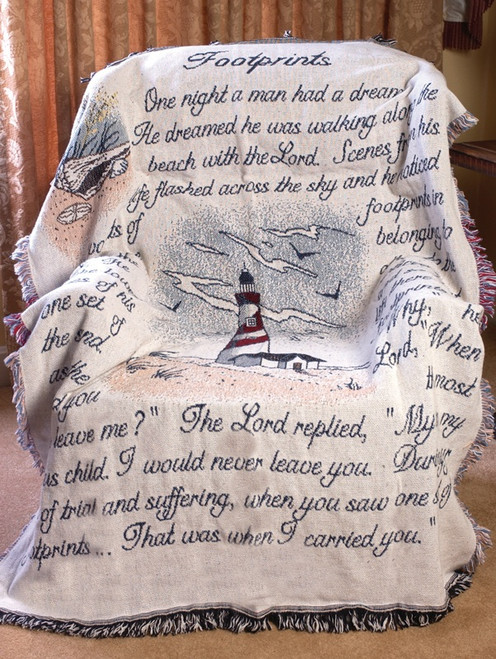"""Blue and White Lighthouse """"Footprints"""" Jacquard Woven Fringed Throw Blanket 46"""" x 60"""" - IMAGE 1"""