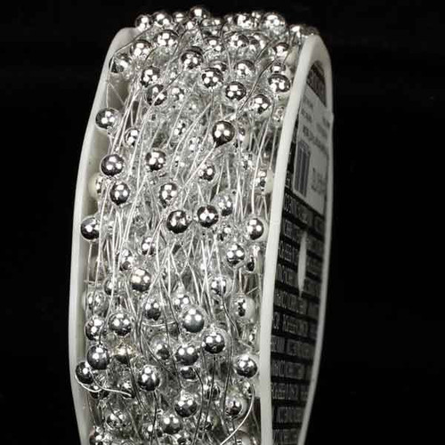 """Silver Pearls Wired Craft Ribbon Garland 0.25"""" x 54 Yards - IMAGE 1"""