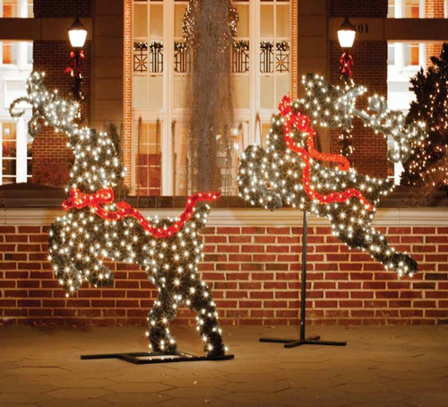 68' Green and Red LED Lighted Leaping Reindeer Topiary Christmas Outdoor Decor - IMAGE 1