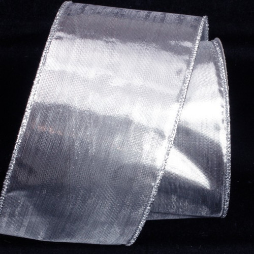"""Silver Solid Wire Edged Craft Ribbon 3"""" x 40 Yards - IMAGE 1"""