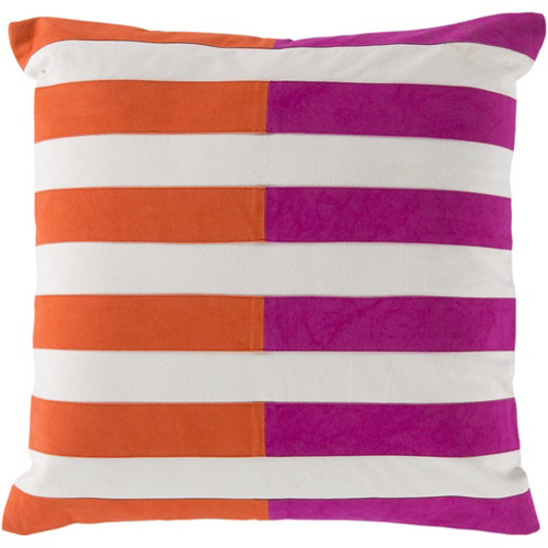 "20"" Orange and Pink Striped Square Throw Pillow - Down Filler - IMAGE 1"