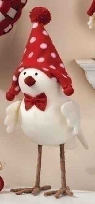"14.25"" Red and White Santa Messenger Bird Christmas Tabletop Figurine - IMAGE 1"