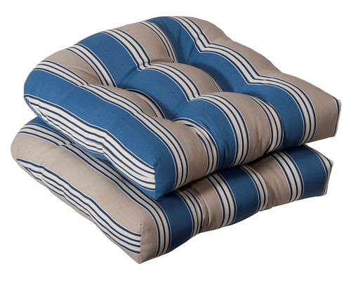 """Set of 2 Gray and Blue Striped Outdoor Patio Wicker Chair Seat Cushions 19"""" - IMAGE 1"""